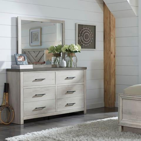 Weathered Grey Farmhouse Dresser with Mirror