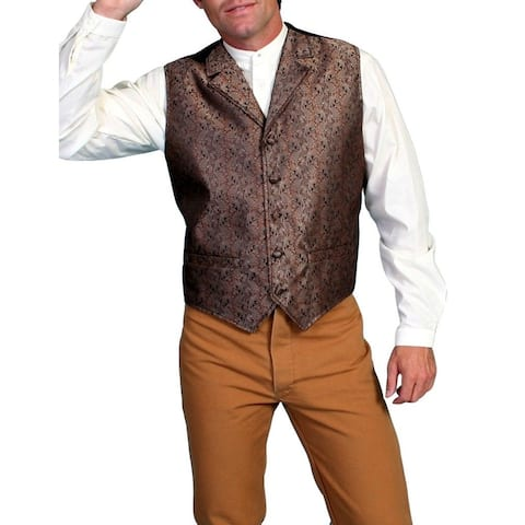 Scully Western Vest Mens Classic Notched Lapels Dry Clean Only - Brown