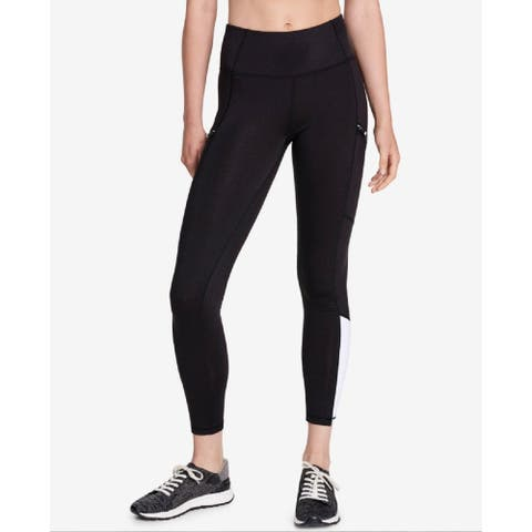 Calvin Klein Women's Performance Colorblocked Side-Zip Leggings Black Sugar Size Large