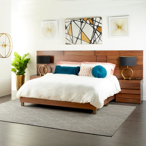 """Contemporary Natural Wood Queen Platform Bed Frame, 81"""" x 63"""""""