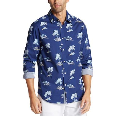 Nautica Mens Big & Tall Hawaiian Print Shirt Collared Long Sleeves - Blue Depths