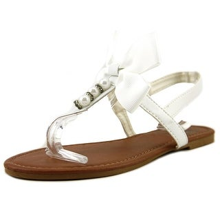 Olivia Miller Girl Oms-1028 Youth  Open Toe Leather White Thong Sandal