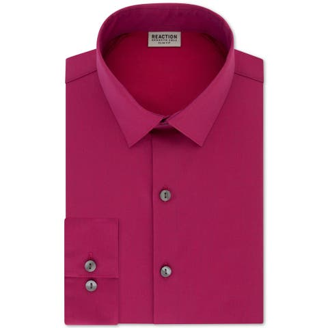 Kenneth Cole Reaction Mens Dress Shirt Pink Size XL 17 Slim Button Down