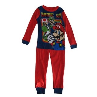 Super Mario Boys Navy Red Cartoon Inspired Print 2 Pc Sleepwear Set