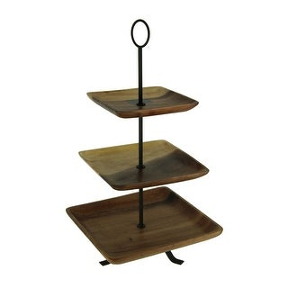 Rustic Square Wood Standing 3 Tiered Serving Tray