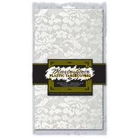 """Pack of 12 White Plastic Lace Rectangular Table Covers 54"""" x 108"""""""