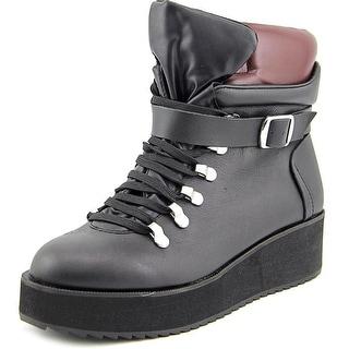 Steve Madden Hiking Women Round Toe Leather Black Boot