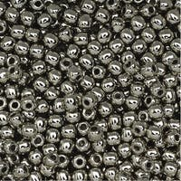 True2 Czech Glass, Round Druk Beads 2mm, 200 Pieces, Nickel Plated