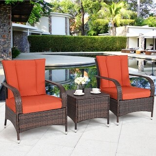 Costway 3PCS Outdoor Patio Mix Brown Rattan Wicker Furniture Set Seat Cushioned Orange