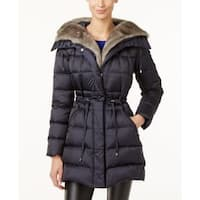 Laundry by Shelli Segal Faux-Fur-Trimmed Quilted Puffer Slate Large