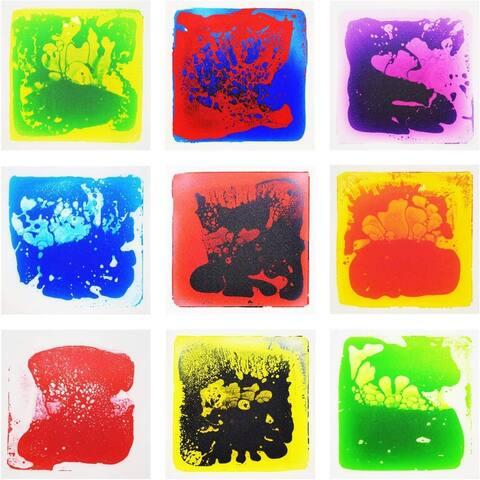 "Art3d Liquid Fusion Activity Play Centers for Children, Toddler, Teens, 12"" X 12"" Pack of 9 Floor Tiles"