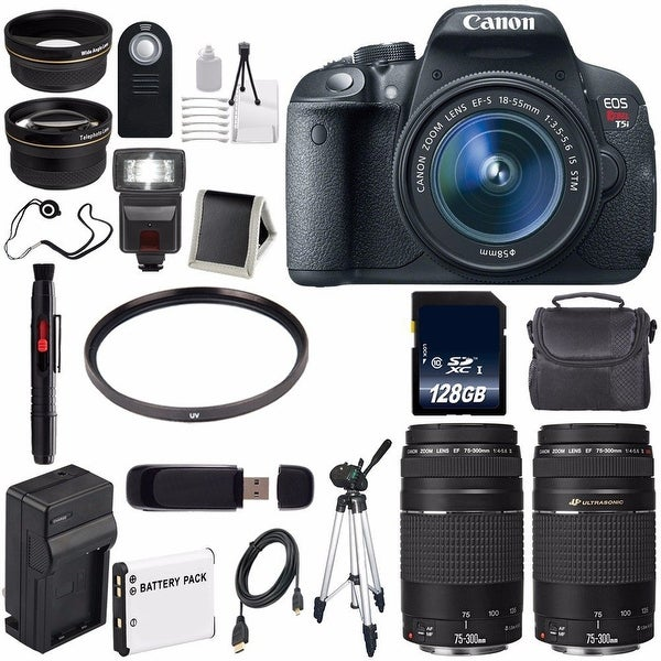 Canon EOS Rebel T5i 18 MP CMOS Digital SLR Camera (International Model) + EF 75-300mm Lens Bundle