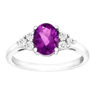 2 3/8 ct Natural Amethyst & White Topaz Ring in Sterling Silver - Purple