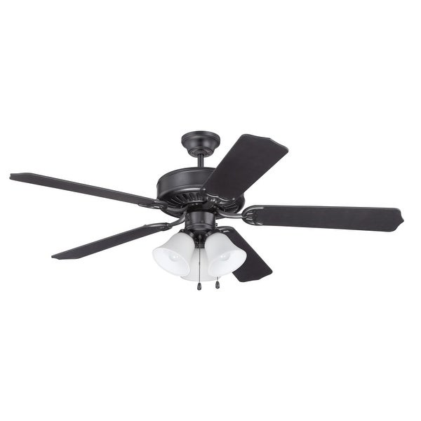 """Craftmade K11113 Pro Builder 205 52"""" 5 Blade Indoor Ceiling Fan with Light Kit and Blades Included - Flat Black - n/a"""