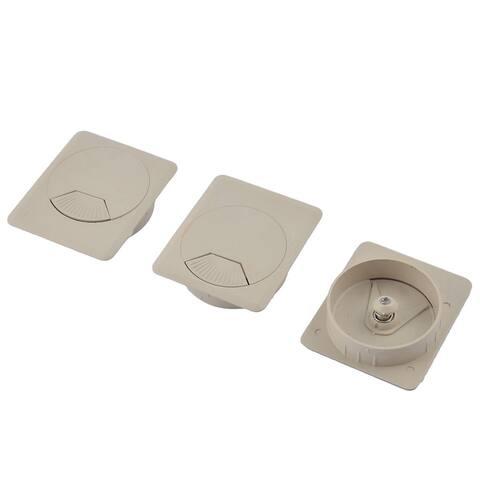 3pcs 69 x 60 x 16mm Plastic Computer Desk Square Grommet Wire Cable Hole Cover