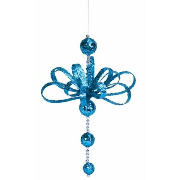 Club Pack of 12 Vibrant Blue Glittered Hanging Christmas Decorations 15""