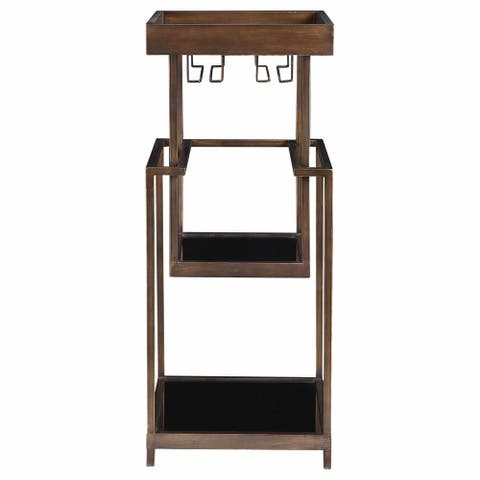 """Uttermost 24903 Adia 18-1/2"""" Wide Mid-Century Rustic """"Float"""" Style Iron and Wood Bar Stand with Glass Shelves and Stemware Rack"""