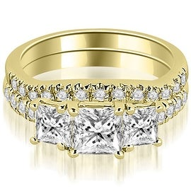 1.40 cttw. 14K Yellow Gold Lucida Three-Stone Princess Cut Bridal Set