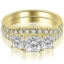 1.65 cttw. 14K Yellow Gold Lucida Three-Stone Princess Cut Bridal Set