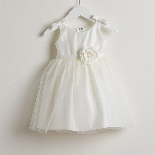 Sweet Kids Baby Girls Ivory Bows Satin Tulle Easter Special Occasion Dress 6-24M