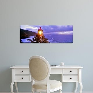 Easy Art Prints Panoramic Image 'Lighthouse at a coast, Heceta Head Lighthouse, Lane County, Oregon' Canvas Art