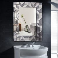 Costway 23.5'' x 35.5'' Rectangular Wall-Mounted Wooden Frame Vanity Mirror Glass Bathroom - as pic