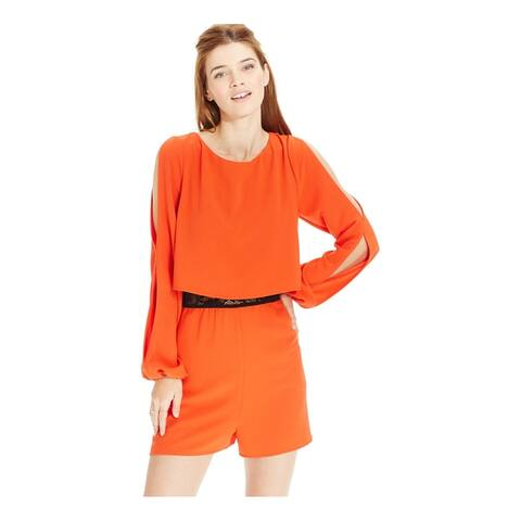 Material Girl Womens Cut-Out Sleeve Romper Jumpsuit