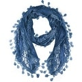 Women's Sheer Lace Scarf With Teardrops Fringe - Thumbnail 0