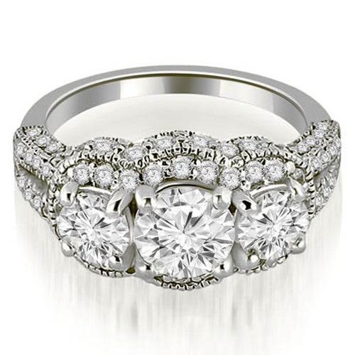 2.25 cttw. 14K White Gold Milgrain 3-Stone Round Cut Diamond Engagement Ring