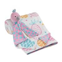 Lambs & Ivy White/Pink/Blue/Orange Pineapple Baby Blanket w/ Bird Lovey
