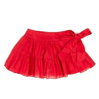 Azul Little Girls Red Solid Color Tie Sash Cotton Ruffled Swimwear Skirt