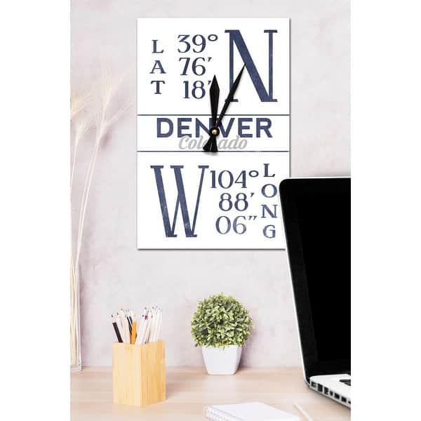shop denver colorado latitude longitude blue lantern press artwork acrylic wall clock acrylic wall clock free shipping on orders over 45 overstock 15851684 overstock com