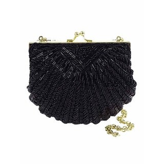 La Regale Beaded Shell Evening Clutch, Black - One size