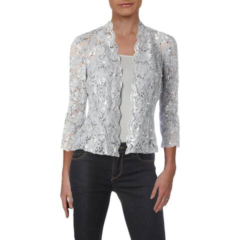 Alex Evenings Womens Jacket Lace Sequined