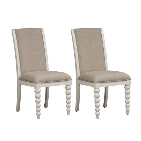 Cottage Harbor White and Linen Upholstered Dining Chair (Set of 2)