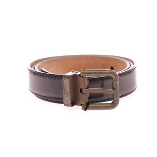 Dolce & Gabbana Gray Leather Logo Belt - 95-cm-38-inches