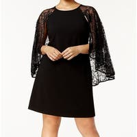 Calvin Klein Black Womens Size 22W Plus Lace Capelet Sheath Dress