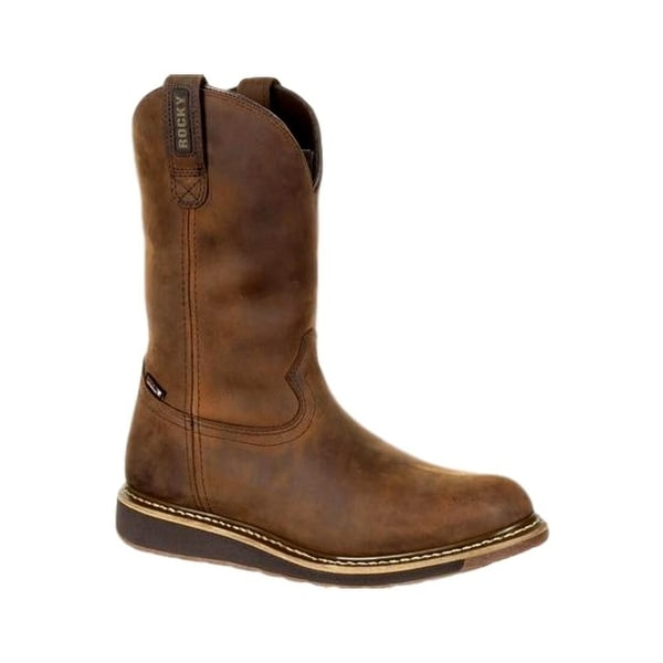 Rocky Western Boots Mens Waterproof Rubber Leather Brown