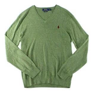 Polo Ralph Lauren NEW Green Mens Size Small S V-Neck Pima Cotton Sweater