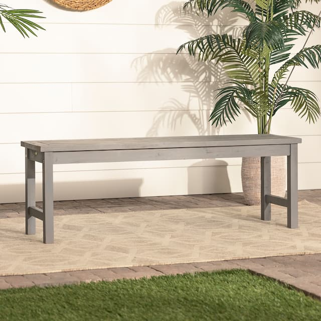 Surfside 53-inch Acacia Outdoor Bench by Havenside Home - Grey Wash