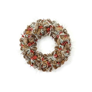 """18"""" Eco Country Iced Pine Cone Artificial Apple Berry Christmas Wreath"""