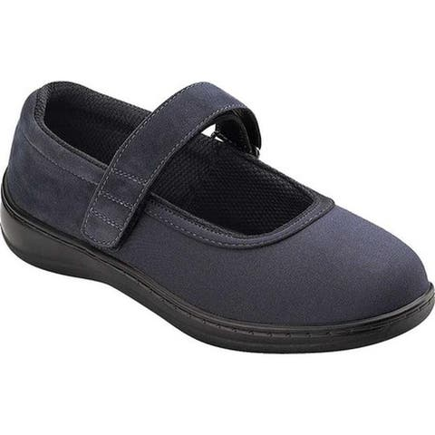 Orthofeet Women's Springfield Navy Blue Synthetic Stretch