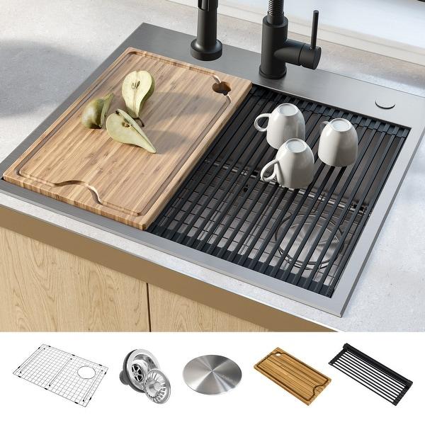 KRAUS Kore Workstation Drop-In Stainless Steel Kitchen Sink. Opens flyout.