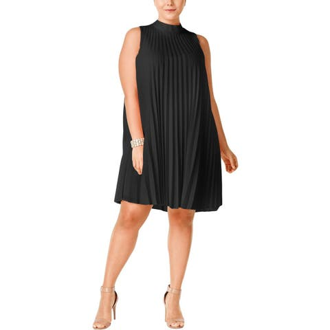 Soprano Womens Plus Cocktail Dress Pleated Mock Neck