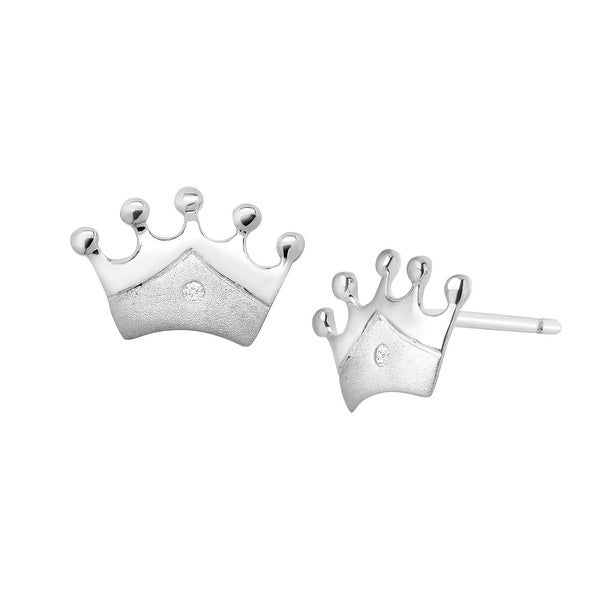 Girl's Princess Crown Stud Earrings with Diamonds in Sterling Silver
