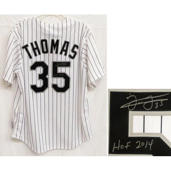 half off 018d7 25677 Frank Thomas Chicago White Sox Majestic White Pinstripe Jersey wHOF 2014