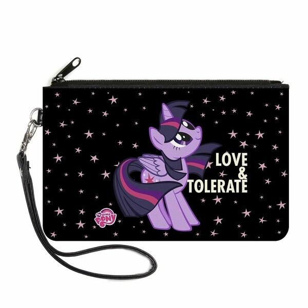Twilight Sparkle Love Tolerate Stars Black Purple Canvas Zipper Wallet