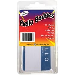Blue/White - Hello My Name Is... Badges 25/Pkg