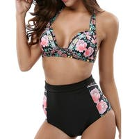 High Waisted Floral Print Halter Bikini