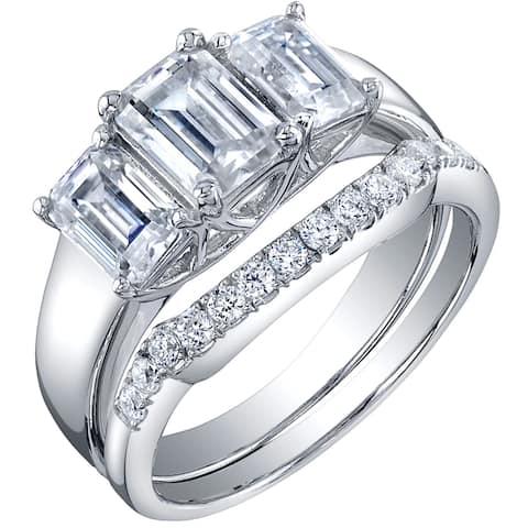 2.5 Carat Moissanite Emerald Cut Engagement Ring Wedding Band Bridal Set in Sterling Silver